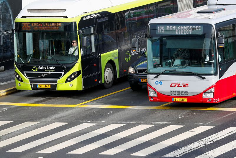 Buses and a car are seen in central Luxembourg