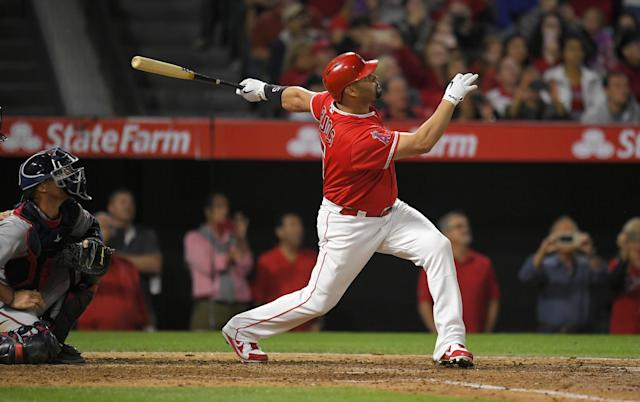 Angels slugger Albert Pujols hit his 600th home run on Saturday against the Twins. (Getty Images)