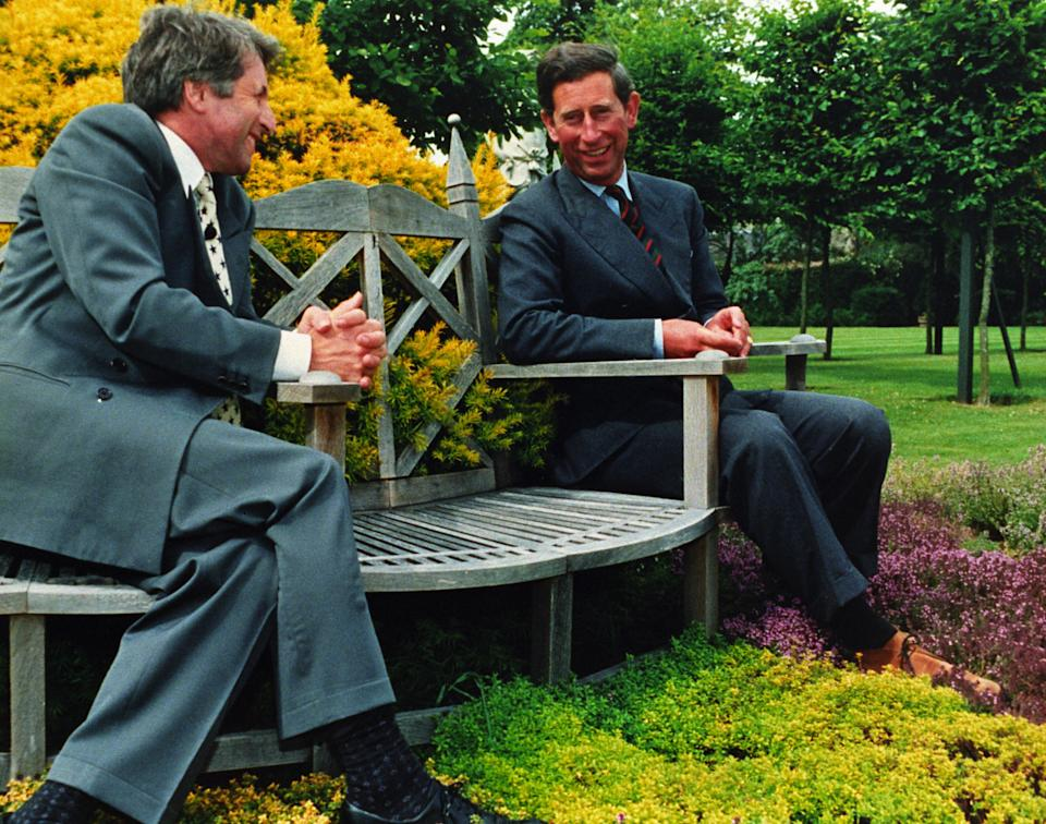 Prince Charles in conversation with Jonathan Dimbleby in his garden at Highgrove during the filming of the television documentary 'CHARLES: THE PRIVATE MAN' on 29.6.94. Tonight (Monday) the BBC will screen a Panorama interview with the Princess herself which is the subject of much media speculation.