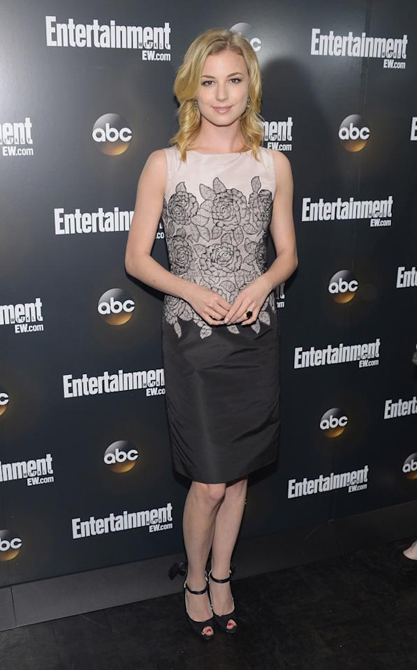"Emily VanCamp (""Revenge"") attends the Entertainment Weekly and ABC Upfront VIP Party at Dream Downtown on May 15, 2012 in New York City."
