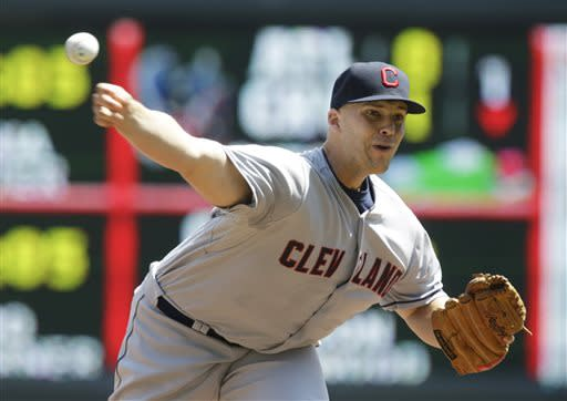 Cleveland Indians pitcher Justin Masterson throws against the Minnesota Twins in the first inning of a baseball game on Sunday, July 21, 2013, in Minneapolis. (AP Photo/Jim Mone)