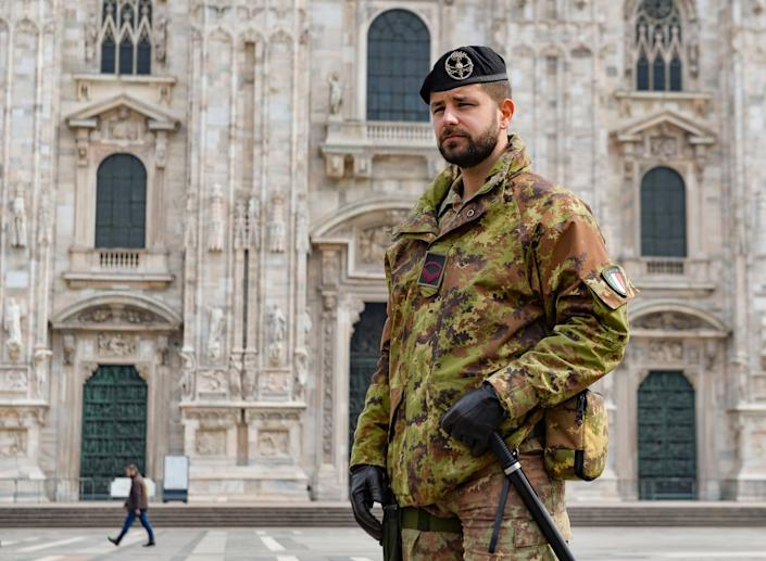 Soldiers of the Italian Army patrol around the Piazza Del Duomo: EPA