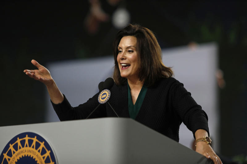 Democrat Gretchen Whitmer speaks to a United Auto Workers convention on June 14, 2018. The backing of the influential union helped propel her to a primary on Tuesday. (Bill Pugliano/Getty Images)
