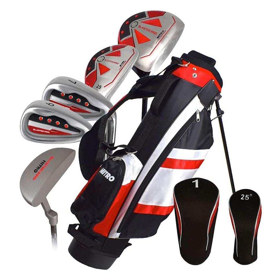 """<p><strong>Nitro Golf</strong></p><p>walmart.com</p><p><strong>$89.98</strong></p><p><a href=""""https://go.redirectingat.com?id=74968X1596630&url=https%3A%2F%2Fwww.walmart.com%2Fip%2F527151011&sref=https%3A%2F%2Fwww.bestproducts.com%2Fparenting%2Fg36341122%2Fkids-golf-clubs%2F"""" rel=""""nofollow noopener"""" target=""""_blank"""" data-ylk=""""slk:Shop Now"""" class=""""link rapid-noclick-resp"""">Shop Now</a></p><p><em><strong>Ages: 5-8</strong></em></p><p>When your child is too big for the plastic sets, but too small for something more custom, this junior set from Nitro Blaster is just what you need. It's small, with clubs weighted perfectly for kids ages 5 to 8, the bag is petite and light, and very easy to caddy. (Or for parents to schlep, if we're being honest.)</p>"""