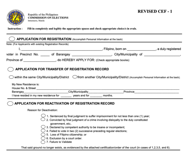 comelec registration 2021 -requirements for COMELEC registration