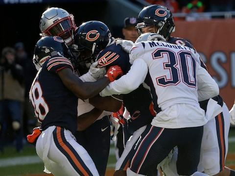 <span>Kevin White caught Mitchell Trubisky's hail mary pass, but wasn't able to force it into the end zone</span> <span>Credit: (AP Photo/David Banks) </span>