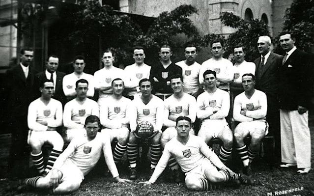 <span>The 1930 United World Cup squad pictured in Rio de Janeiro on the way to Uruguay. Jim Brown is in on the ground in the front row (left)</span>