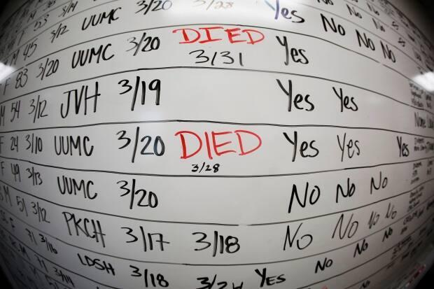 This May 13, 2020, photo taken with a fisheye lens shows a list of the confirmed COVID-19 cases in Salt Lake County. The white board remains in the office as a reminder of how quickly the coronavirus spread.