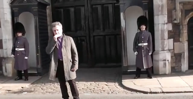 Queen's Guard soldier shouts at dancing tourist