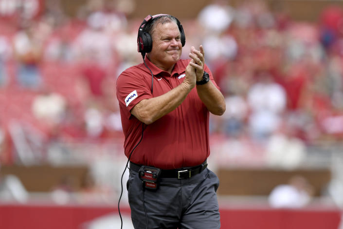 Arkansas coach Sam Pittman reacts after Arkansas scores a touchdown against Rice during the first half of an NCAA college football game Saturday, Sept. 4, 2021, in Fayetteville, Ark. (AP Photo/Michael Woods)