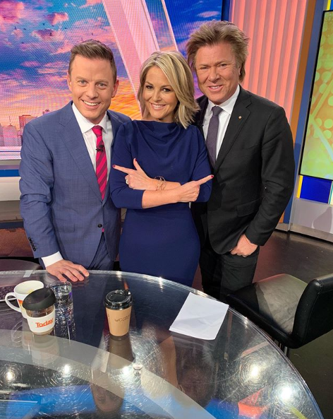 A photo of Ben Fordham, with his Today co-star's Georgie Gardner and Richard Wilkins on set of the TV show.