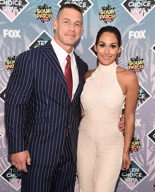 John Cena and Nikki Bella attend the 2016 Teen Choice Awards. (Photo: Kevin Mazur/Fox/Getty Images for Fox)
