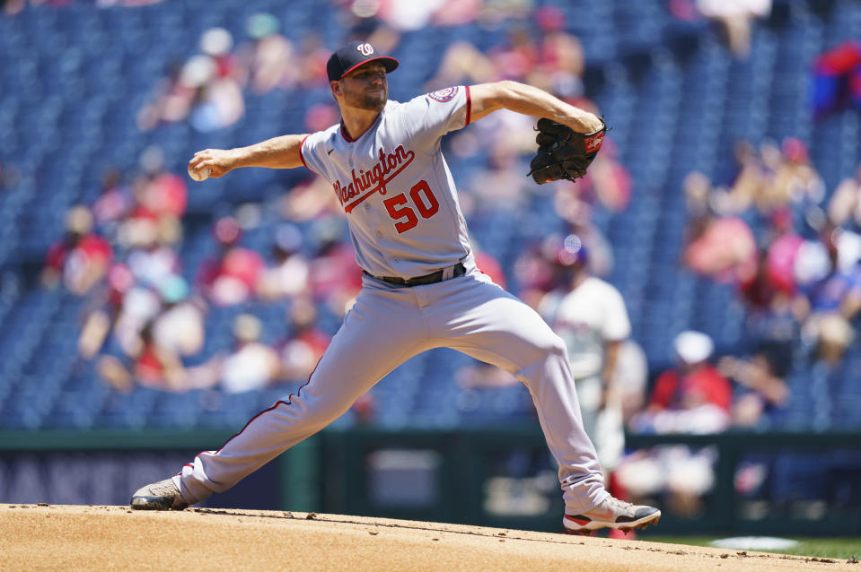 Washington Nationals starting pitcher Austin Voth throws during the first inning of a baseball game against the Philadelphia Phillies, Sunday, June 6, 2021, in Philadelphia. (AP Photo/Chris Szagola)