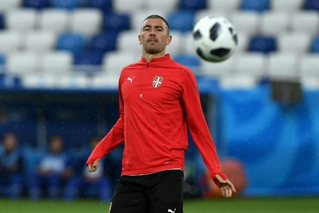 Serbia's defender Aleksandar Kolarov attends a training session in Kaliningrad on June 21, on the eve of their Russia 2018 World Cup Group E match against Switzerland
