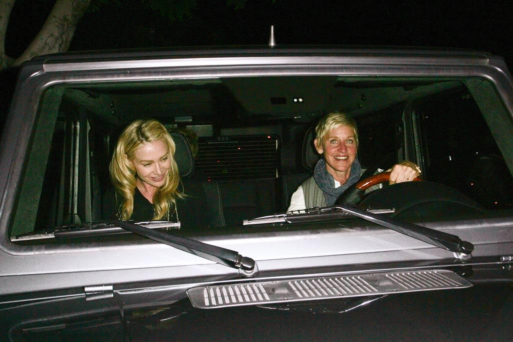 """The happy couple -- who will celebrate their third anniversary in August -- headed home with Ellen behind the wheel. <a href=""""http://www.infdaily.com"""" target=""""new"""">INFDaily.com</a> - May 22, 2011"""