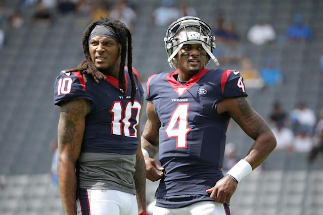 Top 2? One NFL player listed Houston Texans Deshaun Watson, right, and DeAndre Hopkins as the best in the league. (Jeff Gross/Getty Images)