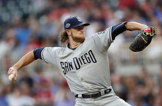 San Diego Padres starting pitcher Chris Paddack (59) works against the Atlanta Braves in the first inning of a baseball game Tuesday, April 30, 2019, in Atlanta. (AP Photo/John Bazemore)