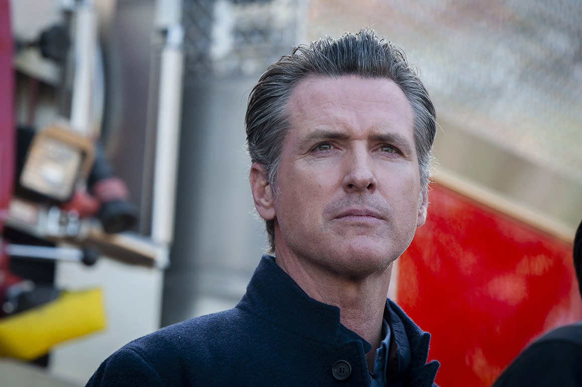 California Governor Gavin Newsom speaks at a press conference for an update on the Getty Fire, Tuesday, Oct. 29, 2019, in Los Angeles. Authorities are concerned about the possibility that predicted strong winds overnight could pick up embers and start new fires. (AP Photo/Christian Monterrosa)