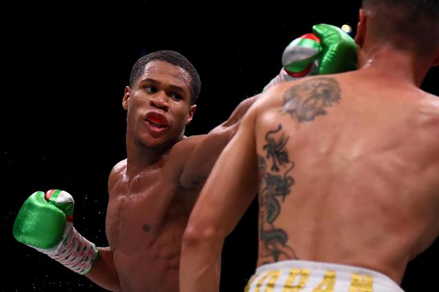 "<a class=""link rapid-noclick-resp"" href=""/ncaaf/players/287806/"" data-ylk=""slk:Devin Haney"">Devin Haney</a> punches Antonio Moran during their WBC and WBO Inter-Continental lightweight championship fight at The Theater at MGM National Harbor on May 25, 2019 in National Harbor, Maryland. (Will Newton/Getty Images)"