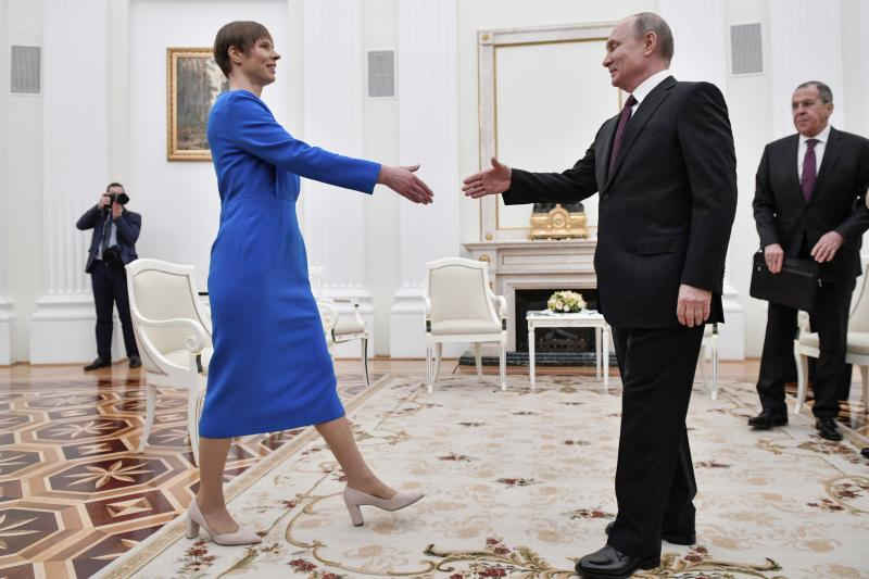 Russian President Vladimir Putin, right, greets Estonia's President Kersti Kaljulaid at the Kremlin in Moscow, Russia, Thursday, April 18, 2019. (Alexander Nemenov/Pool Photo via AP)