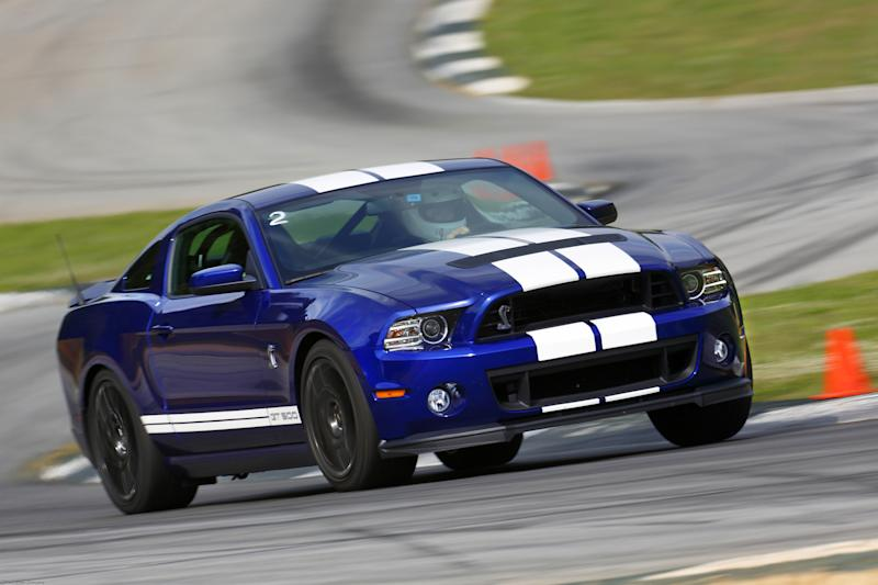 """<span class=""""string"""">A 2013 Ford Shelby GT500 drives on a track at Road Atlanta in Braselton, Ga. on May 17, 2012. (AP Photo/Ford)</span>"""