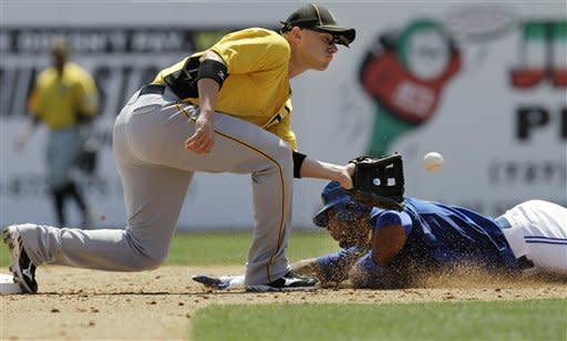 Pittsburgh Pirates shortstop Clint Barmes, left, catches Toronto Blue Jays designated hitter Edwin Encarnacion, right, stealing in the fourth-inning of the Pirates' 2-1 victory in a spring training baseball game in Dunedin, Fla., Sunday, April 1, 2012. (AP Photo/Kathy Willens)