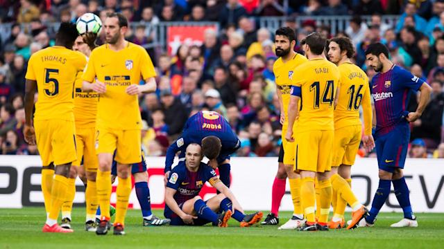 Ernesto Valverde is mulling over his midfield options after Andres Iniesta was forced off with a hamstring injury against Atletico Madrid.
