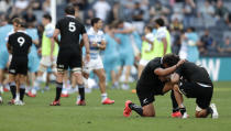 New Zealand's Caleb Clarke and Ardie Savea, right, react following the Tri-Nations rugby test between Argentina and New Zealand at Bankwest Stadium, Sydney, Australia, Saturday, Nov.14, 2020.Argentina defeated the All Blacks 25-15. (AP Photo/Rick Rycroft)