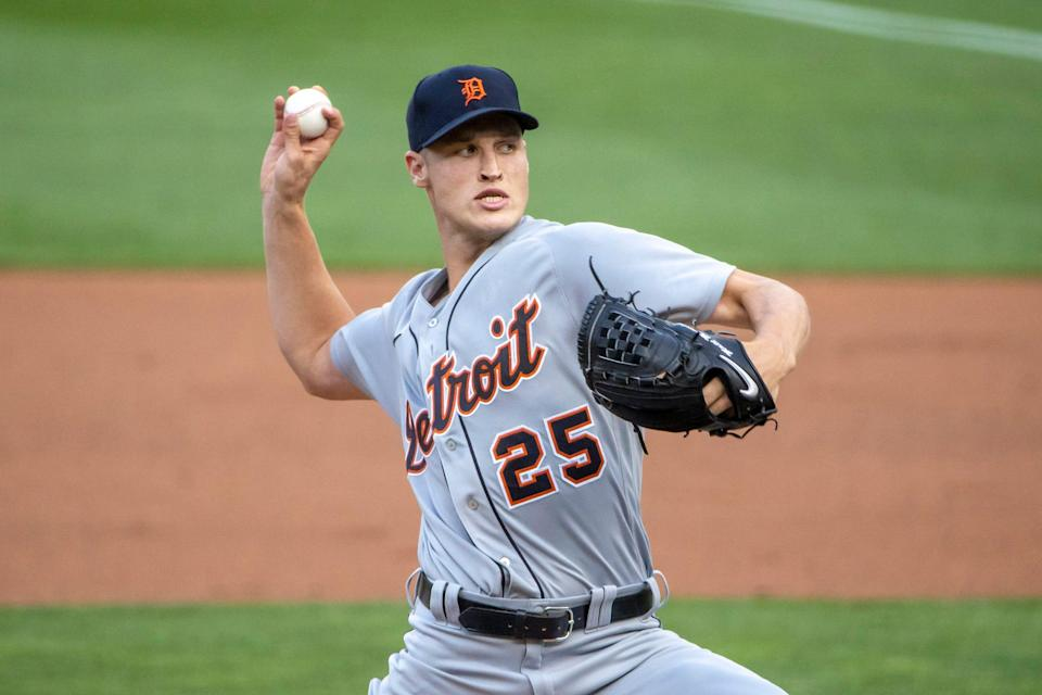 Detroit Tigers starting pitcher Matt Manning (25) delivers a pitch in the first inning against the Minnesota Twins at Target Field in Minneapolis on Friday, July 9, 2021.