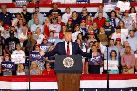 FILE PHOTO: U.S. President Trump speaks about U.S. Representative Omar at campaign rally in Greenville