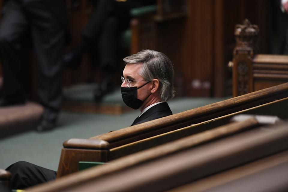MP Jacob Rees-Mogg attends a tribute to Britain's Prince Philip, Duke of Edinburgh in London, Britain April 12, 2021. UK Parliament/Jessica Taylor/Handout via REUTERS ATTENTION EDITORS - THIS IMAGE HAS BEEN SUPPLIED BY A THIRD PARTY. MANDATORY CREDIT. NO ALTERATIONS.