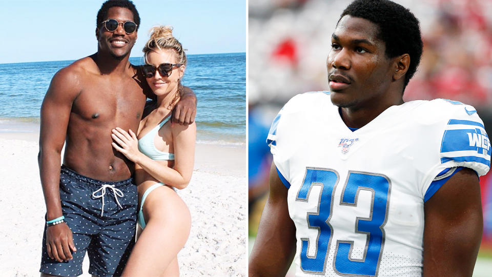 Kerryon Johnson, pictured here with his girlfriend at the beach and in the NFL.