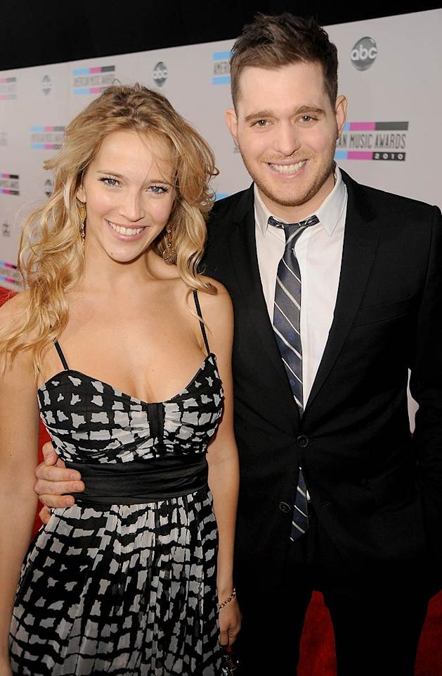 Singer Michael Buble was so excited about his bride, Luisana Lopilato, that he married her three times! The couple held a civil ceremony in March in her native Argentina, then celebrated with 300 friends and family members in another ceremony there on April 2, and topped it off with nuptials before 350 guests in his native Canada the following month. Whew, that's a lot of wedding cake!