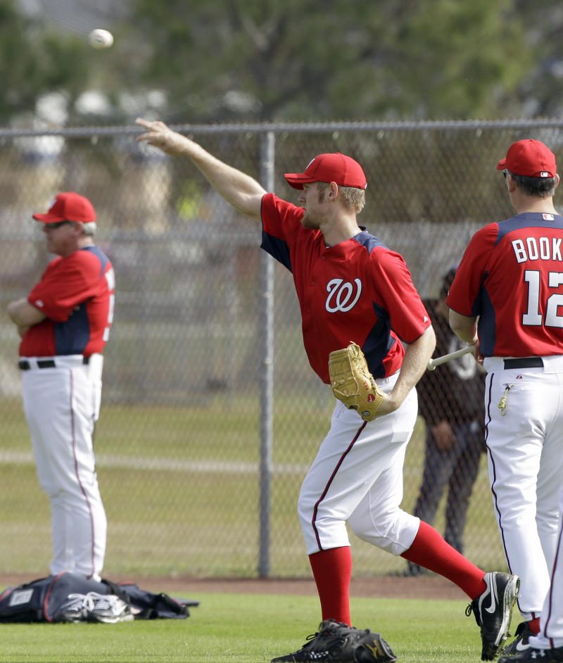 Washington Nationals pitcher Stephen Strasburg throws during a spring training baseball workout, Thursday, Feb. 17, 2011, in Viera, Fla. (AP Photo/David J. Phillip)