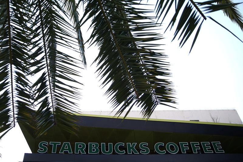 A Starbucks store is seen in Los Angeles