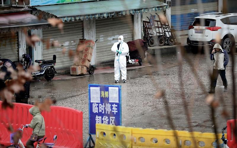 A worker in a protective suit at the Huanan market in Wuhan in January, which was initially linked to the first known coronavirus cases - DARLEY SHEN/Reuters