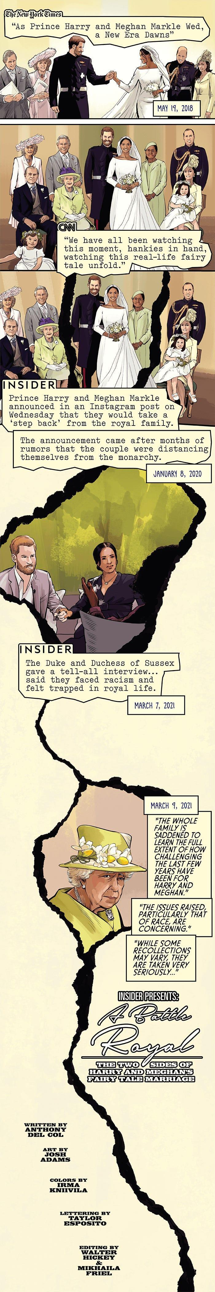 Page one of the story, in which Meghan Markle and Prince Harry are wed. Over the course of the page, the interview with Oprah is revisited, showing that things with the Royal Family have not gone well.