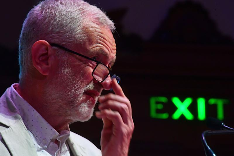 Jeremy Corbyn speaking at a Together for Education rally at Central Hall Westminster in London.