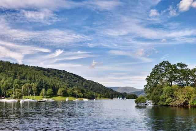a view of windermere in the...