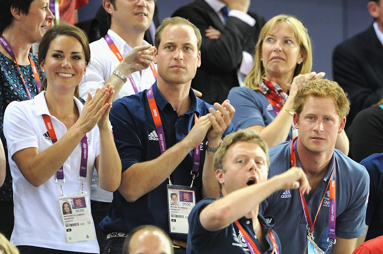 Catherine, Duchess of Cambridge, Prince William, Duke of Cambridge and Prince Harry during Day 6 of the London 2012 Olympic Games at Velodrome on August 2, 2012 in London, England.  (Photo by Pascal Le Segretain/Getty Images)