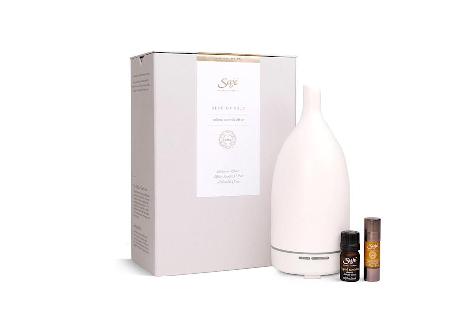 """<p>Saje is known for its chic self-care products, and this kit has three of the company's most popular creations: their Aroma Om diffuser, the Liquid Sunshine essential oil blend (to be used in the diffuser) and their Peppermint Halo rollerball, which was designed to ease headaches and promote relaxation — something we all need this time of year.</p> <p><strong>Buy It!</strong> $100, <a href=""""https://www.saje.com/product/best-of-saje-kit-707337.html"""" rel=""""nofollow noopener"""" target=""""_blank"""" data-ylk=""""slk:saje.com"""" class=""""link rapid-noclick-resp"""">saje.com</a></p>"""