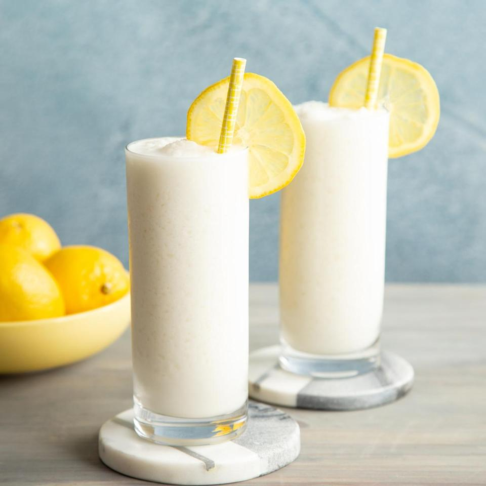 <p>Whipped frozen lemonade combines the creaminess of a milkshake with the thirst-quenching tanginess of freshly squeezed lemonade for an incredibly refreshing treat. And this simple frozen lemonade treat comes together with just four ingredients and a blender. You can use light coconut milk or refrigerated coconut milk in place of full-fat coconut milk, though the end result won't be as rich and creamy. Leftover simple syrup will keep for up to 1 week in the refrigerator.</p>