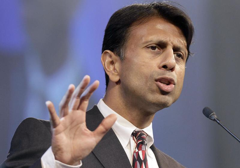 "FILE - In this Friday, July 27, 2012 file photo, Louisiana Gov. Bobby Jindal speaks in Hot Springs, Ark. Jindal is calling on the Republican Party to, quote, ""recalibrate the compass of conservatism."" The Republican governor will deliver the keynote address at the Republican National Committee's winter meeting Thursday night in Charlotte, N.C.   (AP Photo/Danny Johnston, File)"