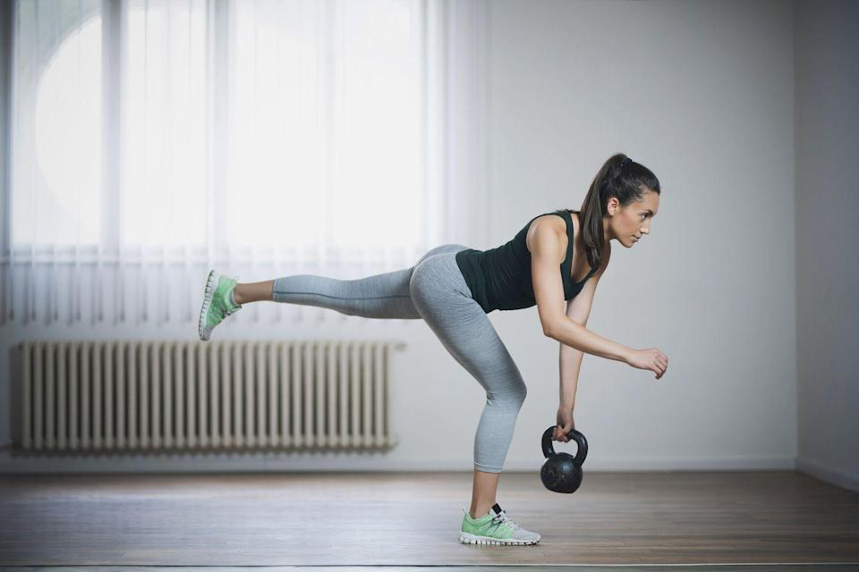 """<p>McKinney is a fan of this unilateral move that tests both strength, balance, and flexibility. She says, """"working the calves, hamstrings, glutes, low back, mid back, upper back (a.k.a posterior chain) is a great way to fix a lot of the posture issues we have as a society today.""""</p><p><strong>How to:</strong> Start with your feet hip distance apart. Roll your shoulders back and down, and do your best to keep them there as you work through the movement. Push your hips back and shift your weight to one leg as the other leg begins to extend back behind you. Your working leg with have a slight bend in the knee and a maximal bend in the hip. Push your hips back until your chest is parallel with the ground. Then, squeeze your glute and return to a standing position. Once you have built enough balance to move through the range of motion safely and without falling, you can add a dumbbell or <a href=""""https://www.goodhousekeeping.com/health-products/g32434355/best-kettlebells/"""" rel=""""nofollow noopener"""" target=""""_blank"""" data-ylk=""""slk:kettlebell"""" class=""""link rapid-noclick-resp"""">kettlebell</a> to the mix.</p>"""