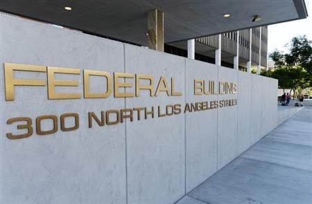 A view shows the sign for the Federal Building, where the IRS offices are located, in Los Angeles
