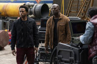 """This image released by Universal Pictures shows Chris """"Ludacris"""" Bridges, left, and Tyrese Gibson in a scene from """"F9: The Fast Saga."""" (Giles Keyte/Universal Pictures via AP)"""