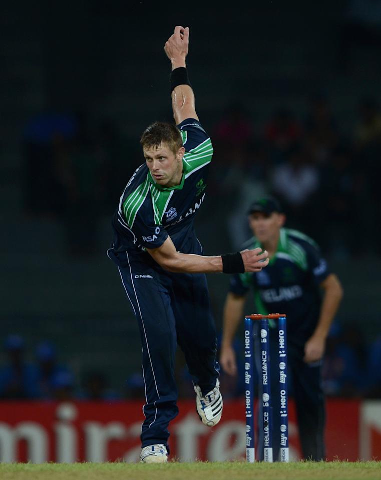 COLOMBO, SRI LANKA - SEPTEMBER 19:  Boyd Rankin of Ireland bowls during ICC World Twenty20 2012: Group B match between Australia and Ireland at R. Premadasa Stadium on September 19, 2012 in Colombo, Sri Lanka.  (Photo by Gareth Copley/Getty Images)