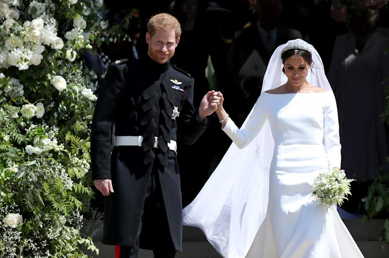 Duchess Meghan, Prince Harry Beam During Royal Reception