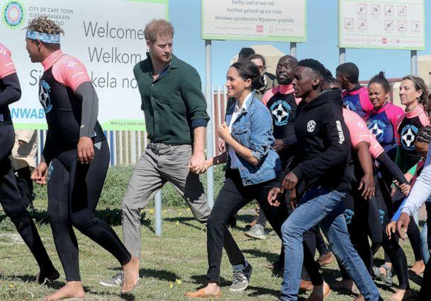 PHOTO: The Duke and Duchess of Sussex, Prince Harry and his wife Meghan, visit Waves for Change, an NGO, at Monwabisi Beach on Sept. 24, 2019 in Cape Town, South Africa. (Chris Jackson/Pool via Getty Images)