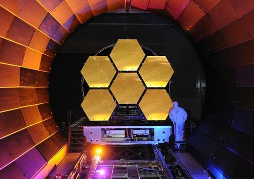 """<span class=""""caption"""">NASA's James Webb telescope mirror undergoing cryogenic testing.</span> <span class=""""attribution""""><span class=""""source""""> Ball Aerospace/Flickr</span>, <a class=""""link rapid-noclick-resp"""" href=""""http://creativecommons.org/licenses/by-sa/4.0/"""" rel=""""nofollow noopener"""" target=""""_blank"""" data-ylk=""""slk:CC BY-SA"""">CC BY-SA</a></span>"""